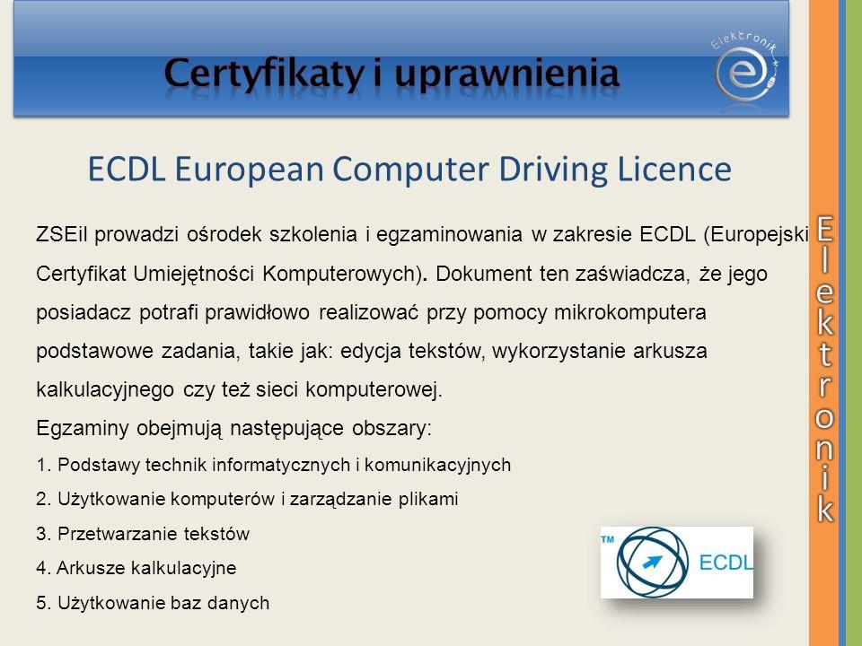 ZSEiI prowadzi ośrodek szkolenia i egzaminowania w zakresie ECDL (Europejski Certyfikat Umiejętności Komputerowych). Dokument ten zaświadcza, że jego