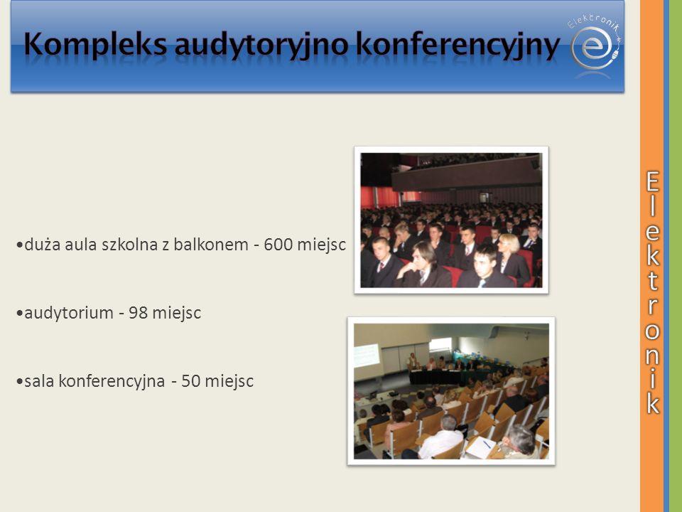 duża aula szkolna z balkonem - 600 miejsc audytorium - 98 miejsc sala konferencyjna - 50 miejsc