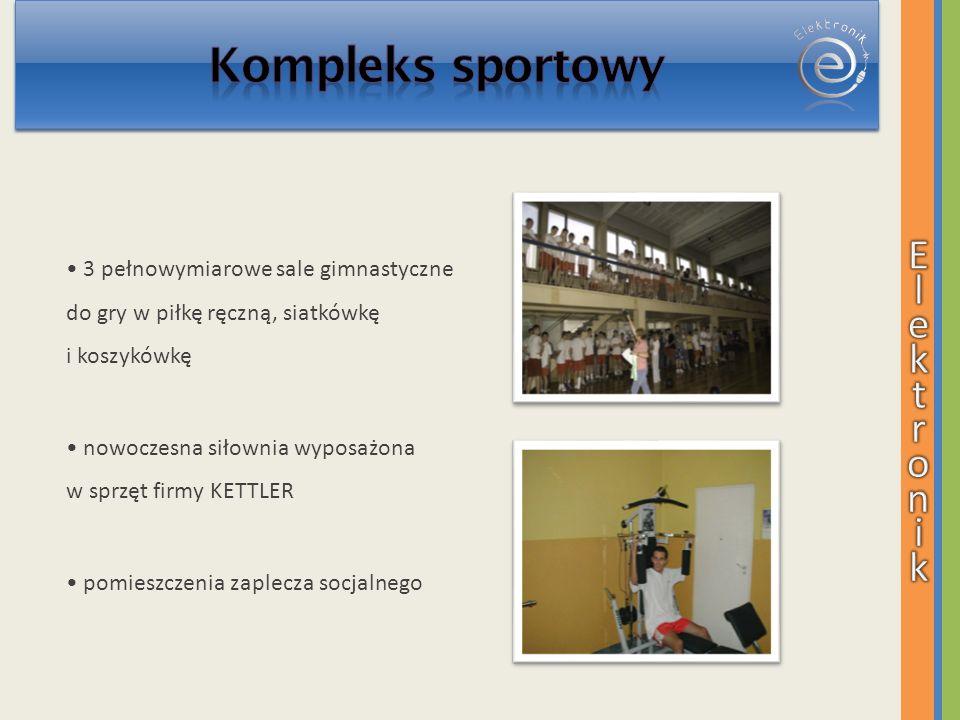 3 pełnowymiarowe sale gimnastyczne do gry w piłkę ręczną, siatkówkę i koszykówkę nowoczesna siłownia wyposażona w sprzęt firmy KETTLER pomieszczenia z