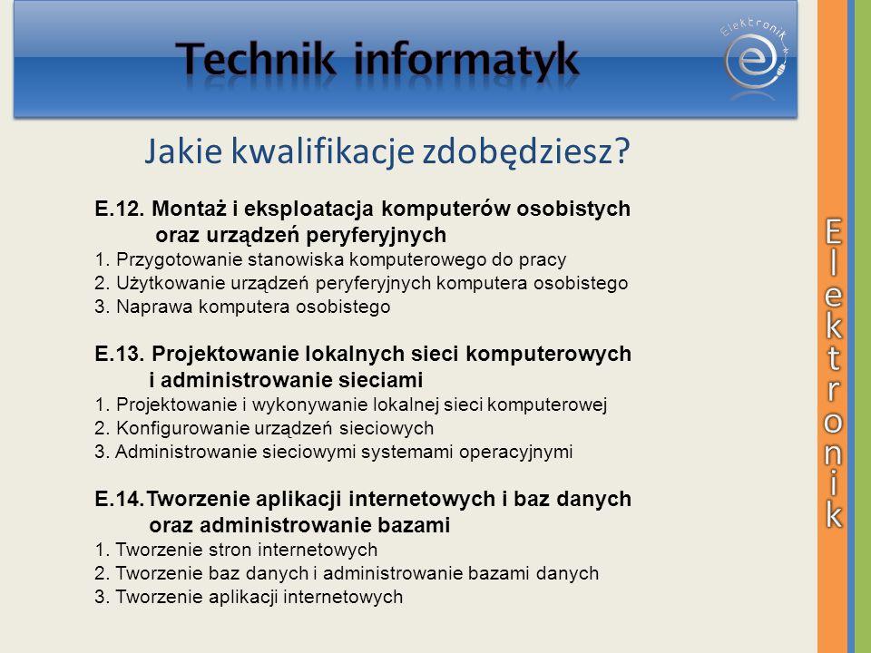 Jakie kwalifikacje zdobędziesz? E.12. Montaż i eksploatacja komputerów osobistych oraz urządzeń peryferyjnych 1. Przygotowanie stanowiska komputeroweg