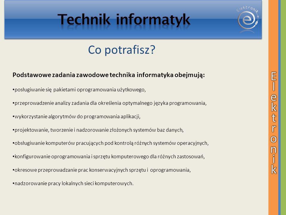 Podstawowe zadania zawodowe technika informatyka obejmują: posługiwanie się pakietami oprogramowania użytkowego, przeprowadzenie analizy zadania dla o