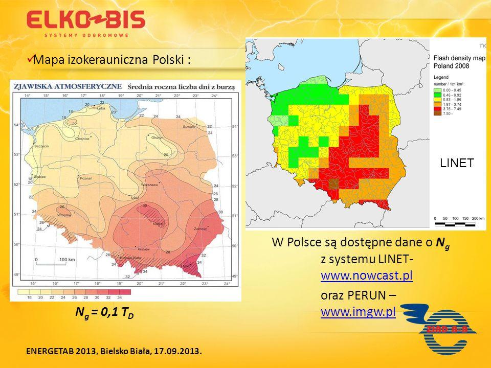 Mapa izokerauniczna Polski : W Polsce są dostępne dane o N g z systemu LINET- www.nowcast.pl www.nowcast.pl oraz PERUN – N g = 0,1 T D www.imgw.pl www