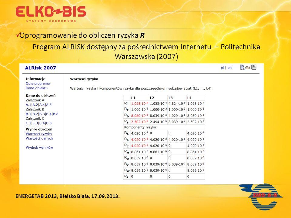 Oprogramowanie do obliczeń ryzyka R Program ALRISK dostępny za pośrednictwem Internetu – Politechnika Warszawska (2007) ENERGETAB 2013, Bielsko Biała,