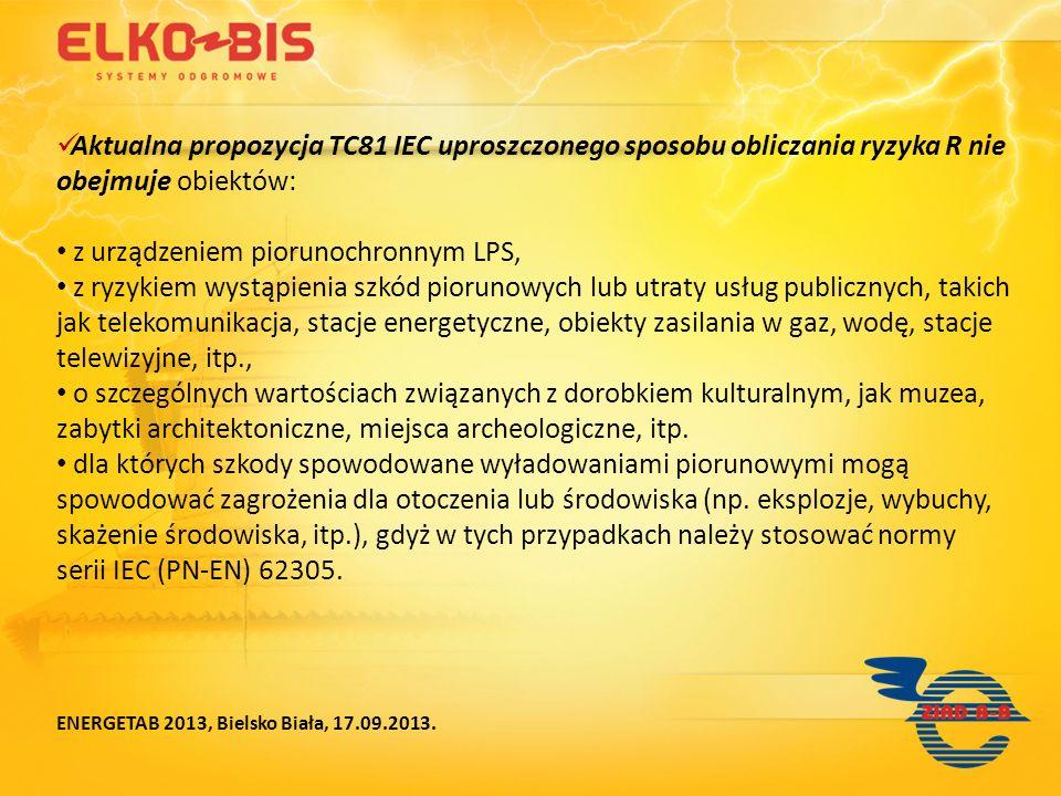 Aktualna propozycja TC81 IEC uproszczonego sposobu obliczania ryzyka R nie obejmuje obiektów: z urządzeniem piorunochronnym LPS, z ryzykiem wystąpieni