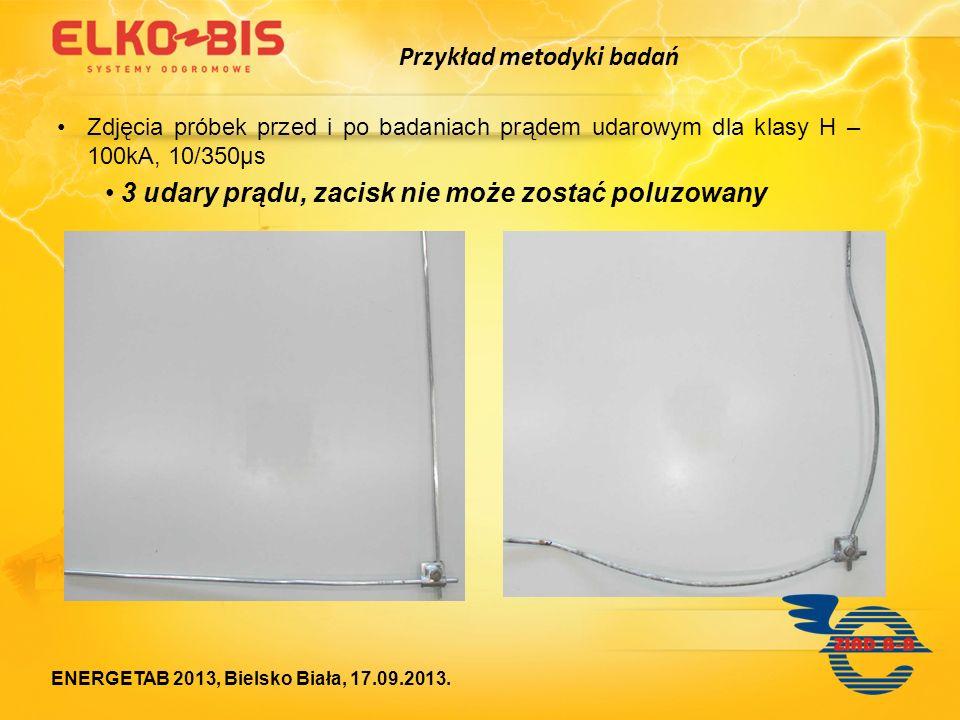 Zdjęcia próbek przed i po badaniach prądem udarowym dla klasy Η – 100kA, 10/350μs 3 udary prądu, zacisk nie może zostać poluzowany Przykład metodyki b