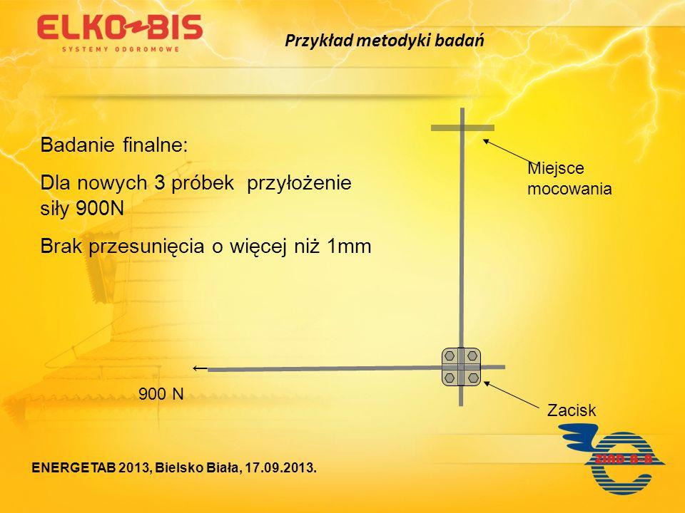 Zacisk Badanie finalne: Dla nowych 3 próbek przyłożenie siły 900N Brak przesunięcia o więcej niż 1mm Miejsce mocowania 900 N Przykład metodyki badań E