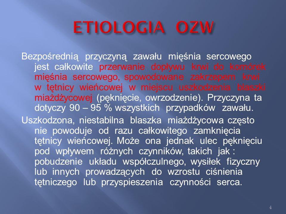 W związku z licznymi różnicami w etiopatogenezie, zapisach ekg oraz postępowaniu terapeutycznym w ostrych zespołach wieńcowych możemy wyróżnić : 1. za