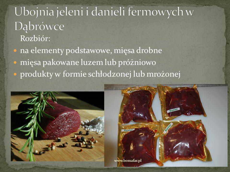Rozbiór: na elementy podstawowe, mięsa drobne mięsa pakowane luzem lub próżniowo produkty w formie schłodzonej lub mrożonej www.bomafar.pl