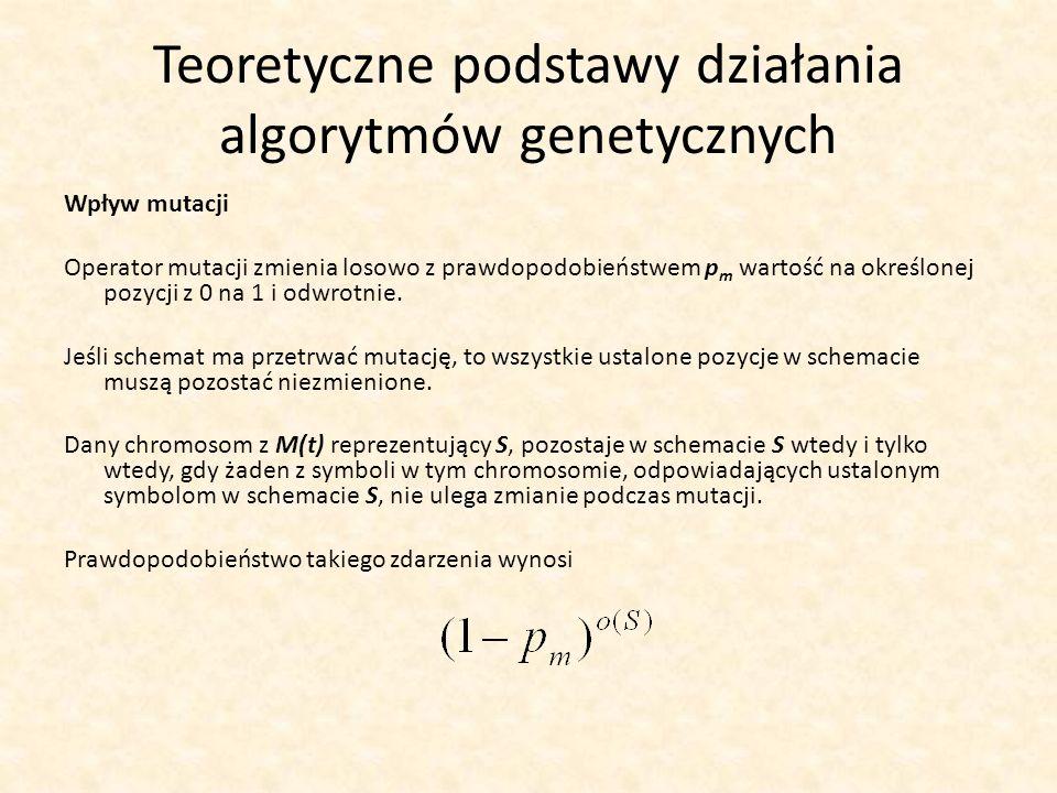 Teoretyczne podstawy działania algorytmów genetycznych Wpływ mutacji Operator mutacji zmienia losowo z prawdopodobieństwem p m wartość na określonej p