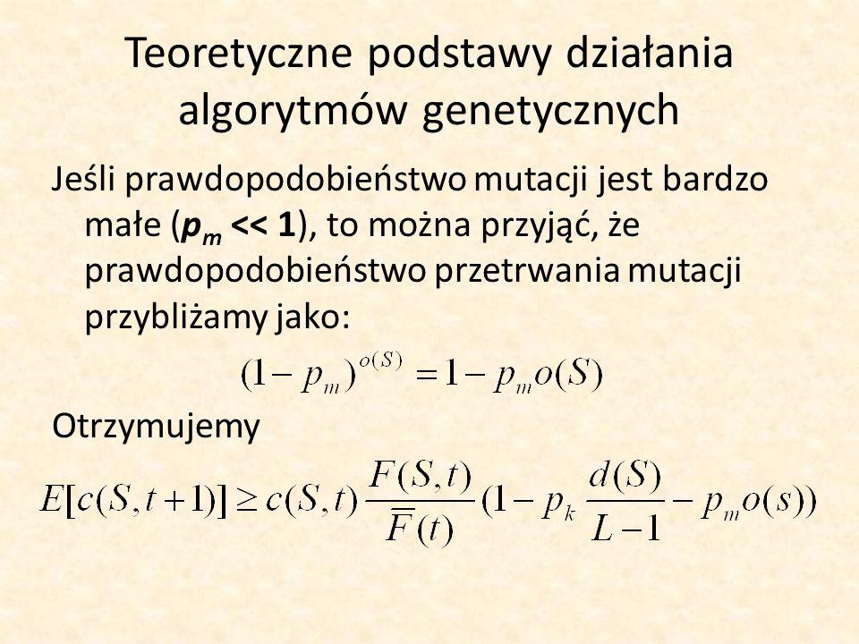 Teoretyczne podstawy działania algorytmów genetycznych Jeśli prawdopodobieństwo mutacji jest bardzo małe (p m << 1), to można przyjąć, że prawdopodobi