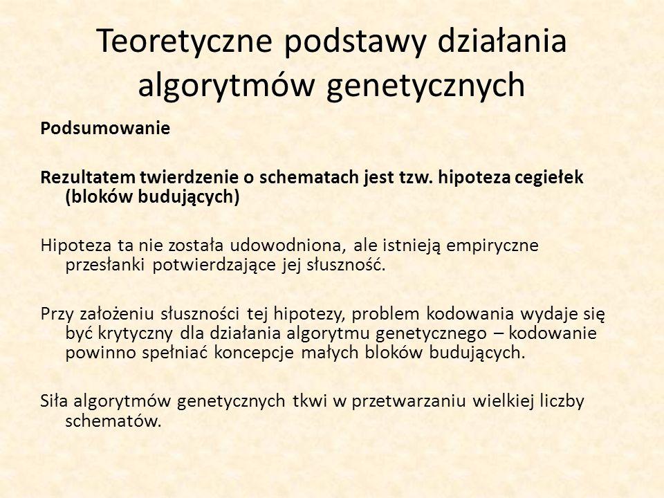 Teoretyczne podstawy działania algorytmów genetycznych Podsumowanie Rezultatem twierdzenie o schematach jest tzw. hipoteza cegiełek (bloków budujących