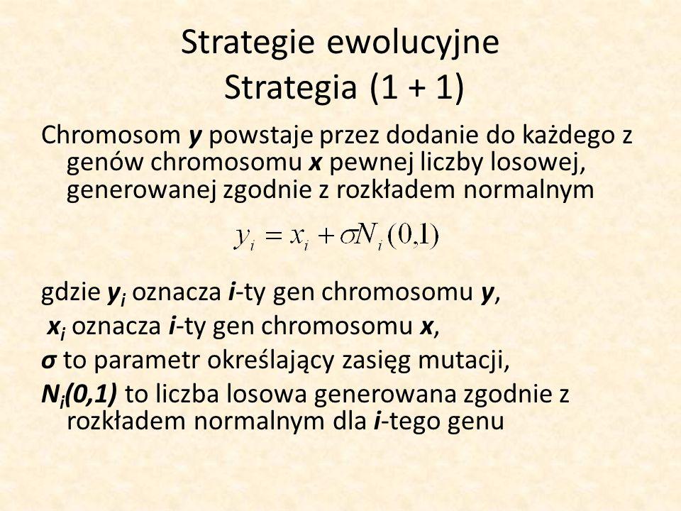 Strategie ewolucyjne Strategia (1 + 1) Chromosom y powstaje przez dodanie do każdego z genów chromosomu x pewnej liczby losowej, generowanej zgodnie z