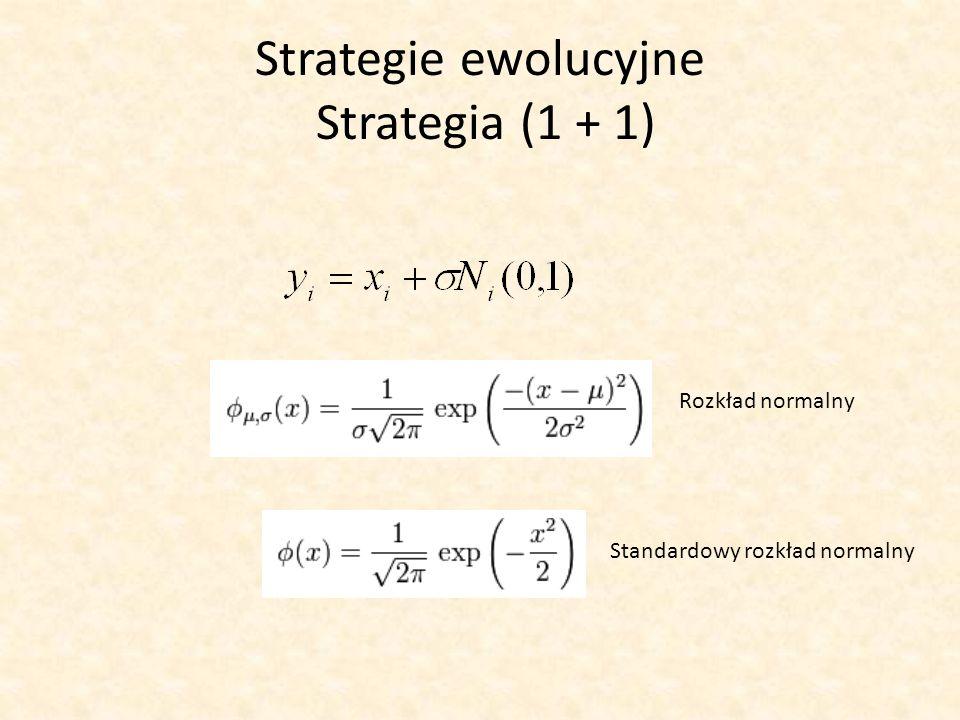 Strategie ewolucyjne Strategia (1 + 1) Rozkład normalny Standardowy rozkład normalny
