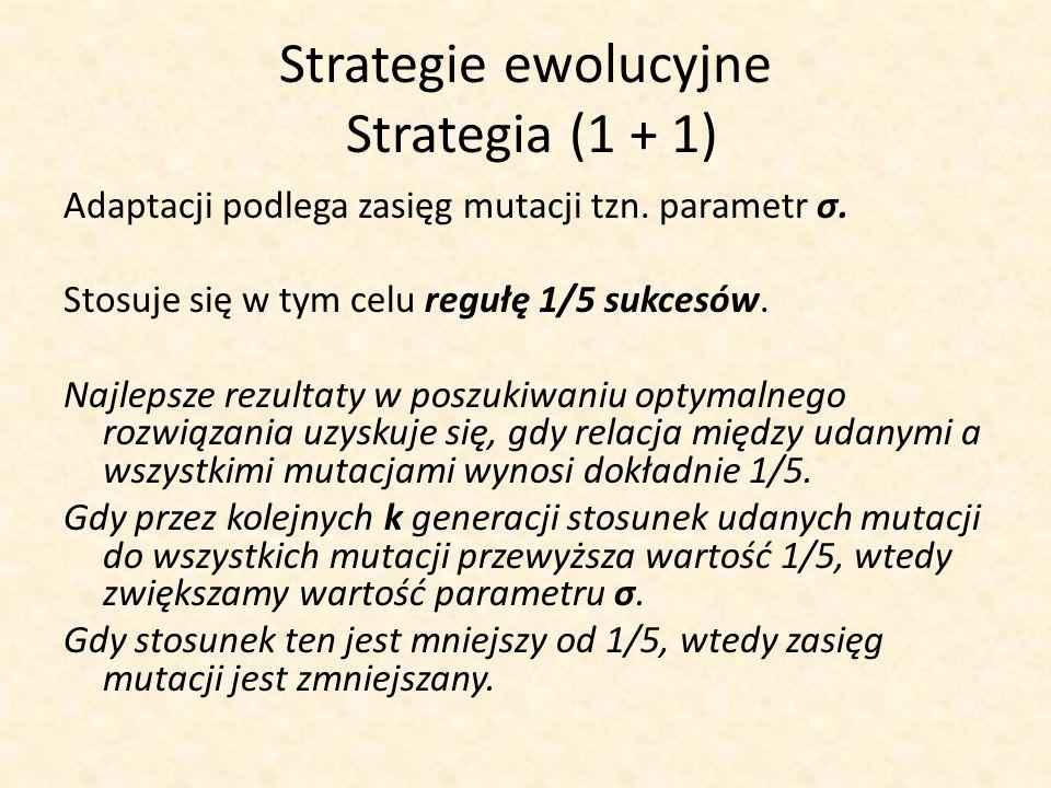 Adaptacji podlega zasięg mutacji tzn. parametr σ. Stosuje się w tym celu regułę 1/5 sukcesów. Najlepsze rezultaty w poszukiwaniu optymalnego rozwiązan