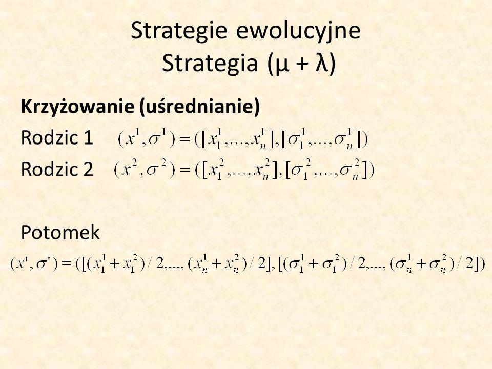 Strategie ewolucyjne Strategia (μ + λ) Krzyżowanie (uśrednianie) Rodzic 1 Rodzic 2 Potomek