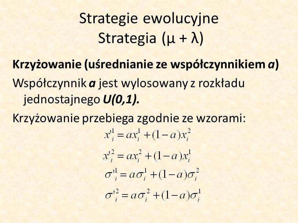 Strategie ewolucyjne Strategia (μ + λ) Krzyżowanie (uśrednianie ze współczynnikiem a) Współczynnik a jest wylosowany z rozkładu jednostajnego U(0,1).