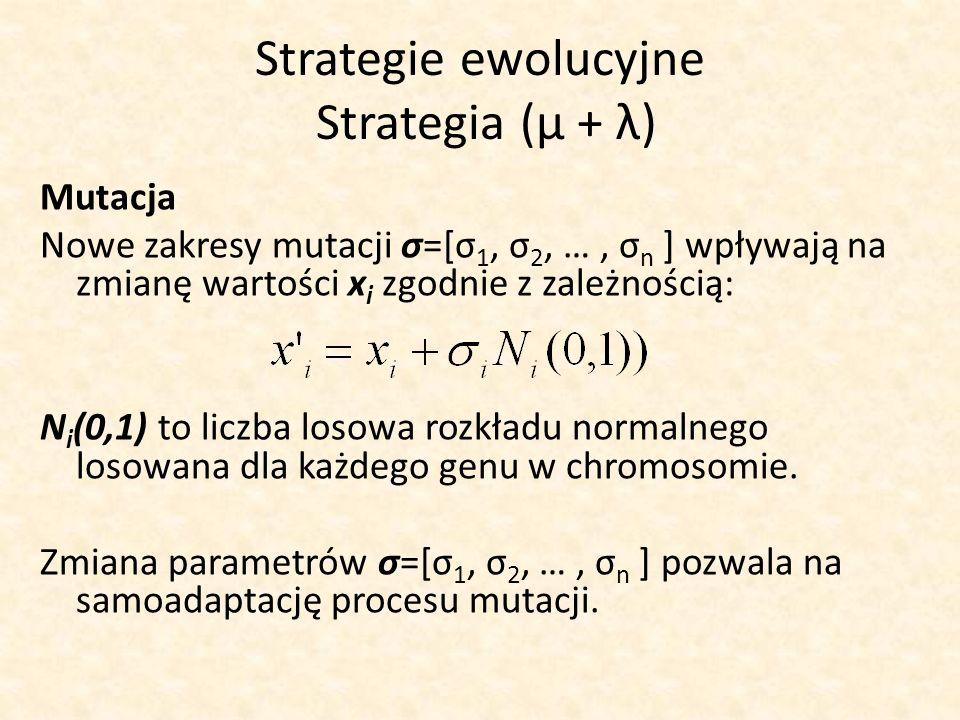 Strategie ewolucyjne Strategia (μ + λ) Mutacja Nowe zakresy mutacji σ=[σ 1, σ 2, …, σ n ] wpływają na zmianę wartości x i zgodnie z zależnością: N i (