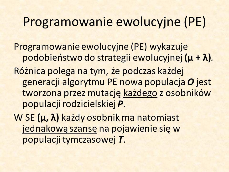 Programowanie ewolucyjne (PE) Programowanie ewolucyjne (PE) wykazuje podobieństwo do strategii ewolucyjnej (μ + λ). Różnica polega na tym, że podczas