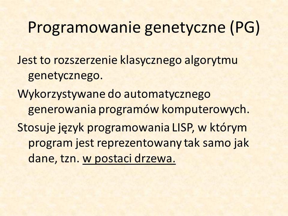 Programowanie genetyczne (PG) Jest to rozszerzenie klasycznego algorytmu genetycznego. Wykorzystywane do automatycznego generowania programów komputer