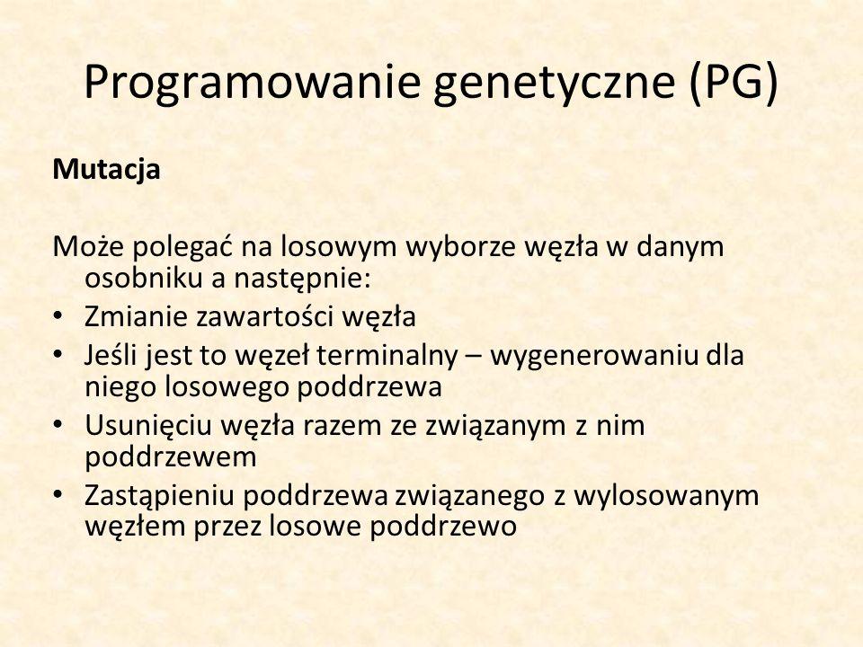 Programowanie genetyczne (PG) Mutacja Może polegać na losowym wyborze węzła w danym osobniku a następnie: Zmianie zawartości węzła Jeśli jest to węzeł