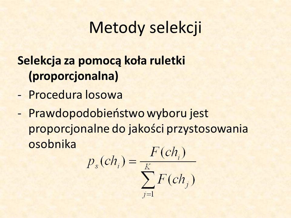 Metody selekcji Selekcja za pomocą koła ruletki (proporcjonalna) -Procedura losowa -Prawdopodobieństwo wyboru jest proporcjonalne do jakości przystoso