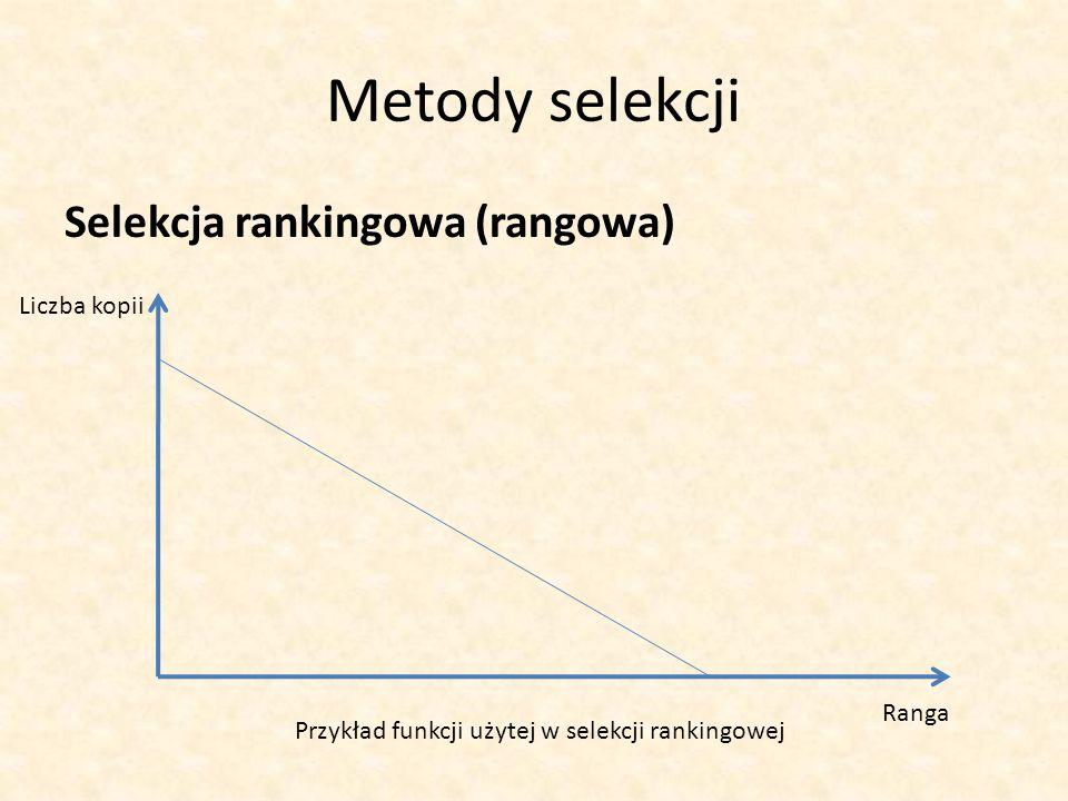 Metody selekcji Selekcja rankingowa (rangowa) Ranga Liczba kopii Przykład funkcji użytej w selekcji rankingowej
