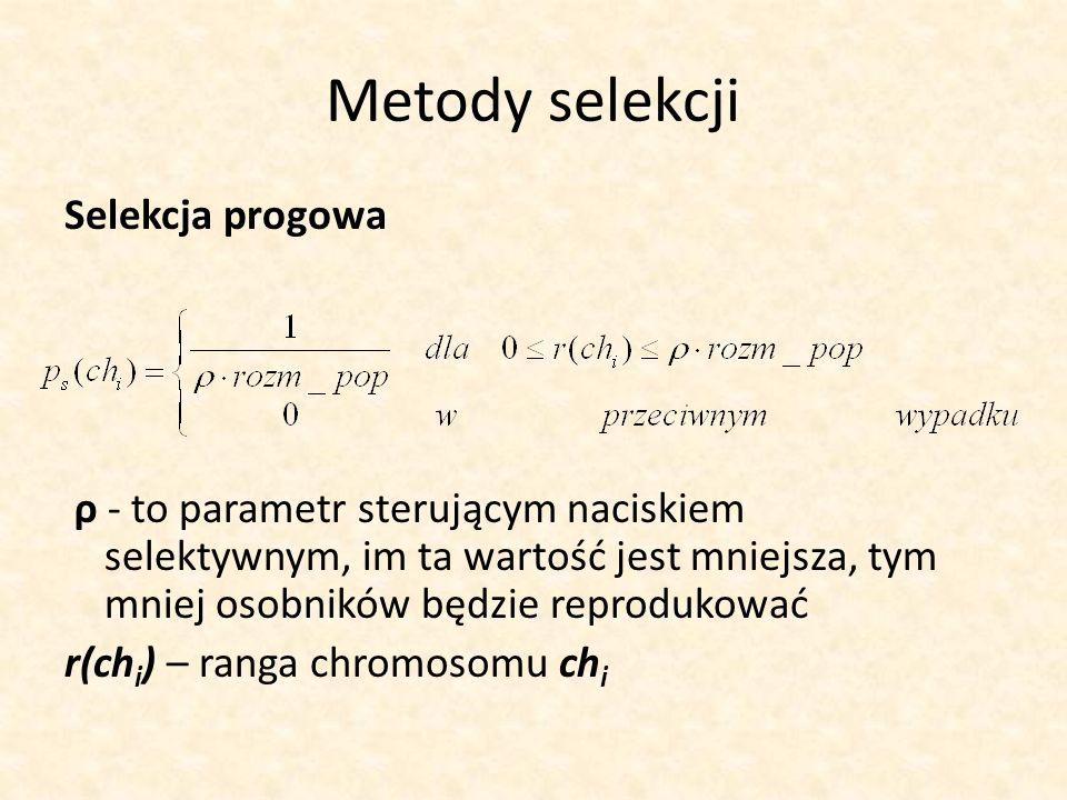 Metody selekcji Selekcja progowa ρ - to parametr sterującym naciskiem selektywnym, im ta wartość jest mniejsza, tym mniej osobników będzie reprodukowa