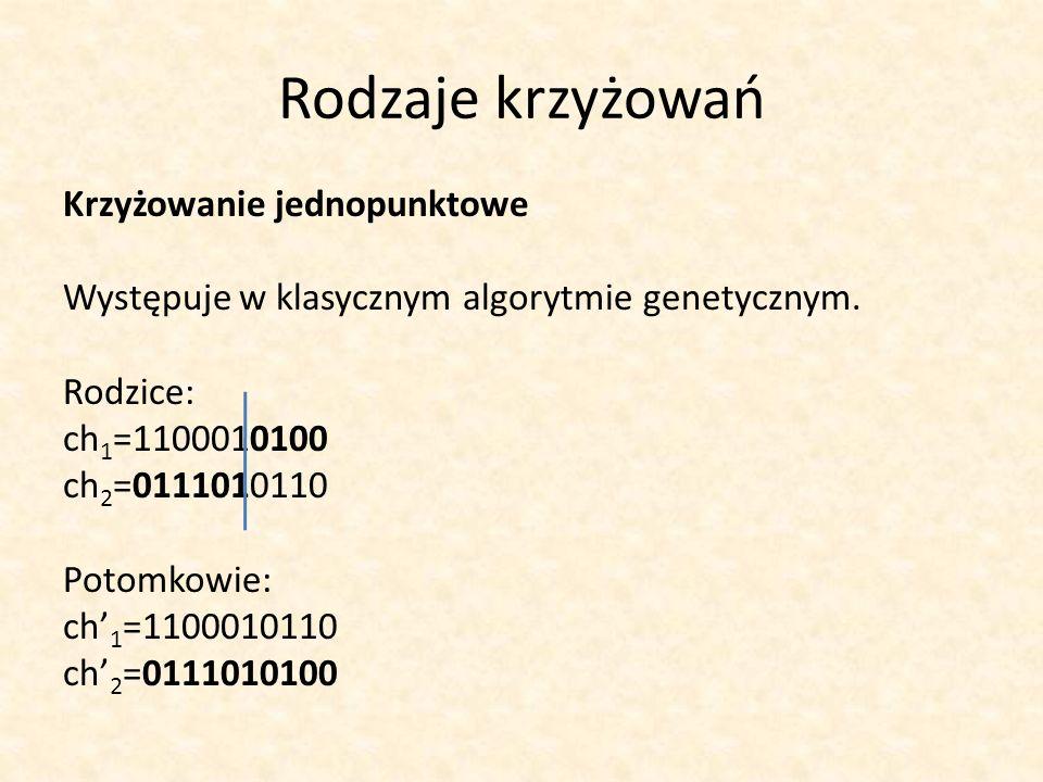 Rodzaje krzyżowań Krzyżowanie jednopunktowe Występuje w klasycznym algorytmie genetycznym. Rodzice: ch 1 =1100010100 ch 2 =0111010110 Potomkowie: ch 1
