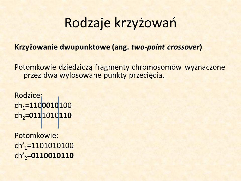 Rodzaje krzyżowań Krzyżowanie dwupunktowe (ang. two-point crossover) Potomkowie dziedziczą fragmenty chromosomów wyznaczone przez dwa wylosowane punkt