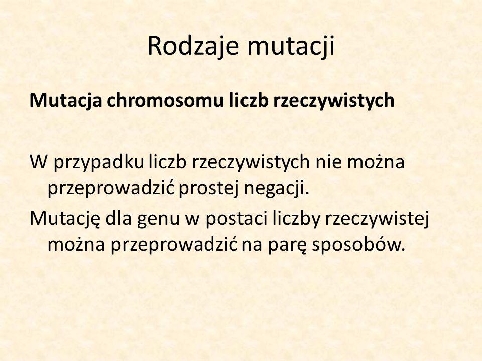 Rodzaje mutacji Mutacja chromosomu liczb rzeczywistych W przypadku liczb rzeczywistych nie można przeprowadzić prostej negacji. Mutację dla genu w pos