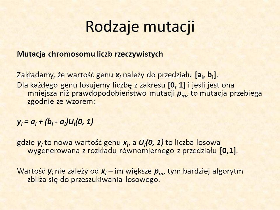 Rodzaje mutacji Mutacja chromosomu liczb rzeczywistych Zakładamy, że wartość genu x i należy do przedziału [a i, b i ]. Dla każdego genu losujemy licz