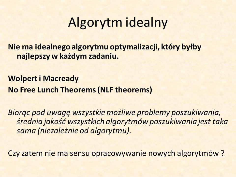 Algorytm idealny Nie ma idealnego algorytmu optymalizacji, który byłby najlepszy w każdym zadaniu. Wolpert i Macready No Free Lunch Theorems (NLF theo