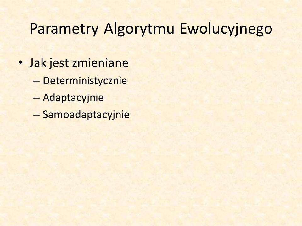 Parametry Algorytmu Ewolucyjnego Jak jest zmieniane – Deterministycznie – Adaptacyjnie – Samoadaptacyjnie