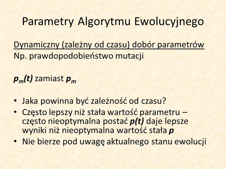 Parametry Algorytmu Ewolucyjnego Dynamiczny (zależny od czasu) dobór parametrów Np. prawdopodobieństwo mutacji p m (t) zamiast p m Jaka powinna być za