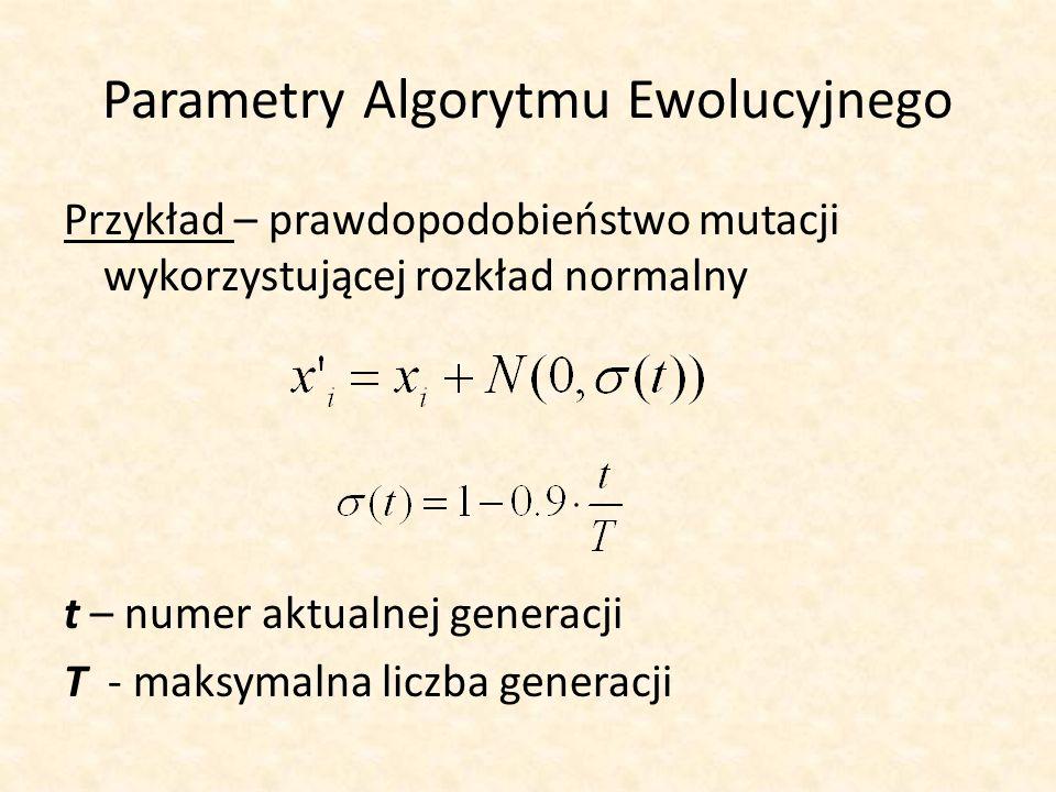 Parametry Algorytmu Ewolucyjnego Przykład – prawdopodobieństwo mutacji wykorzystującej rozkład normalny t – numer aktualnej generacji T - maksymalna l