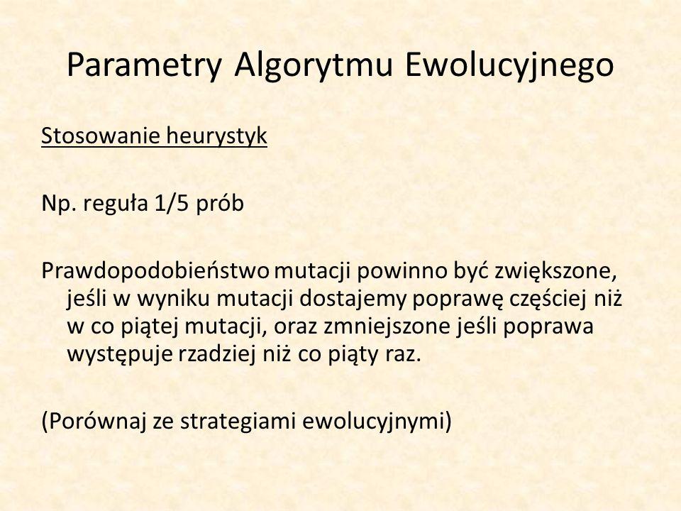 Parametry Algorytmu Ewolucyjnego Stosowanie heurystyk Np. reguła 1/5 prób Prawdopodobieństwo mutacji powinno być zwiększone, jeśli w wyniku mutacji do