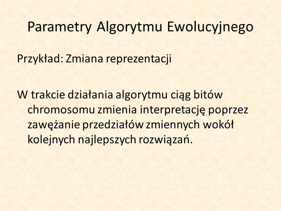 Parametry Algorytmu Ewolucyjnego Przykład: Zmiana reprezentacji W trakcie działania algorytmu ciąg bitów chromosomu zmienia interpretację poprzez zawę