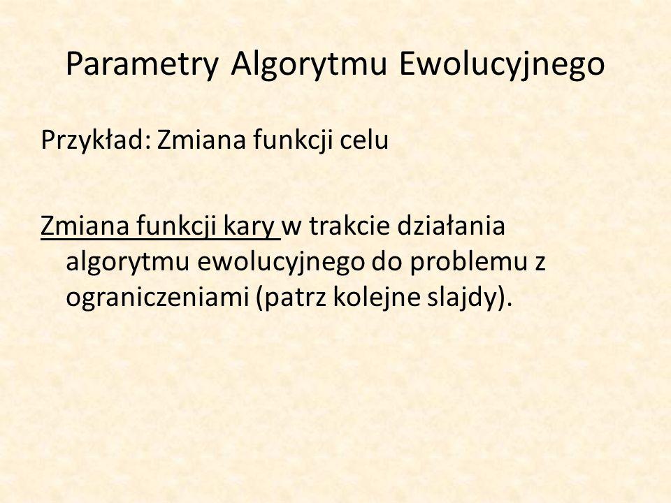 Parametry Algorytmu Ewolucyjnego Przykład: Zmiana funkcji celu Zmiana funkcji kary w trakcie działania algorytmu ewolucyjnego do problemu z ograniczen