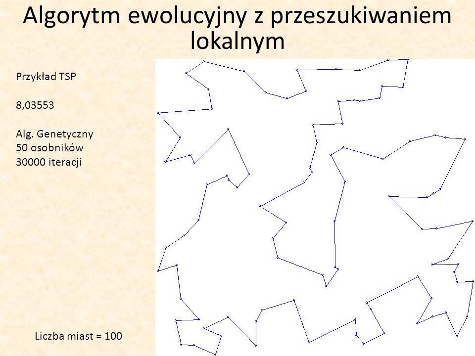 Algorytm ewolucyjny z przeszukiwaniem lokalnym Przykład TSP 8,03553 Alg. Genetyczny 50 osobników 30000 iteracji Liczba miast = 100