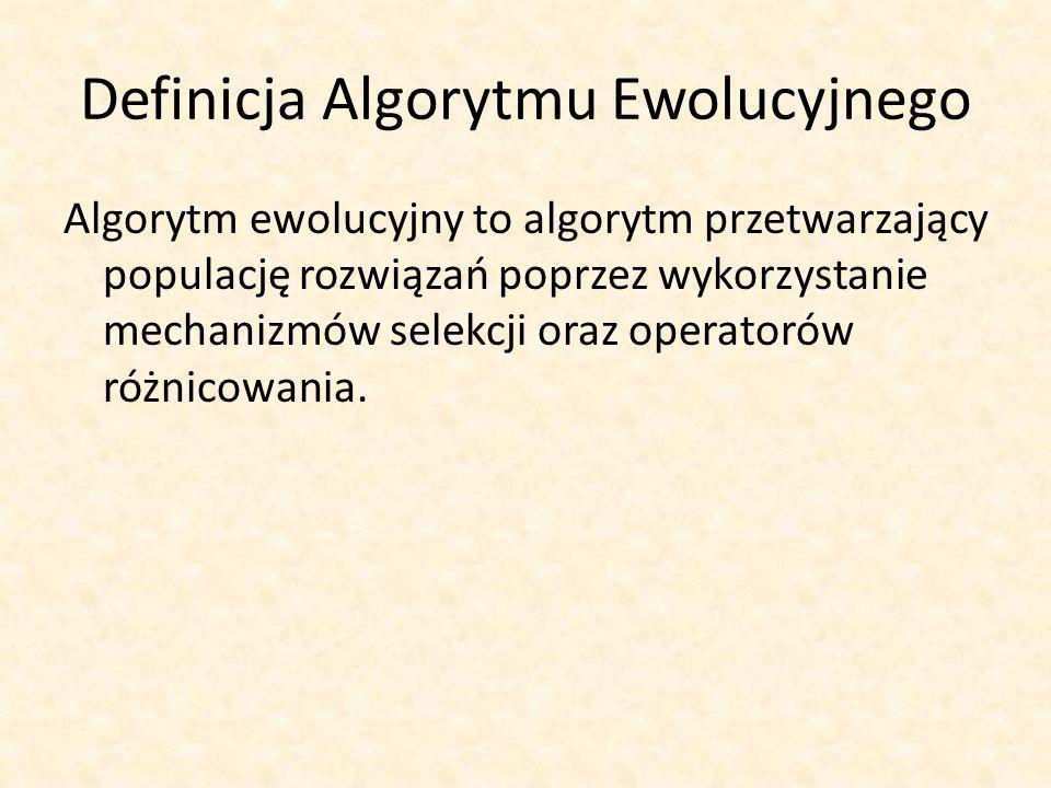 Definicja Algorytmu Ewolucyjnego Algorytm ewolucyjny to algorytm przetwarzający populację rozwiązań poprzez wykorzystanie mechanizmów selekcji oraz op