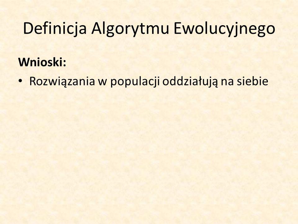 Definicja Algorytmu Ewolucyjnego Wnioski: Rozwiązania w populacji oddziałują na siebie