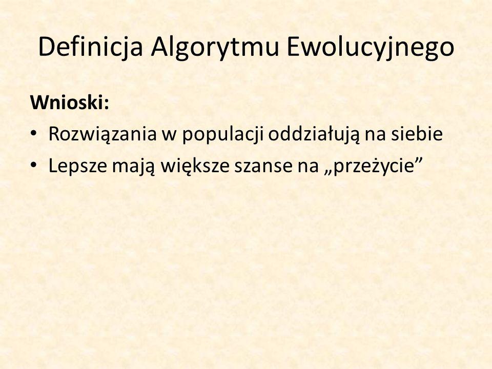 Definicja Algorytmu Ewolucyjnego Wnioski: Rozwiązania w populacji oddziałują na siebie Lepsze mają większe szanse na przeżycie