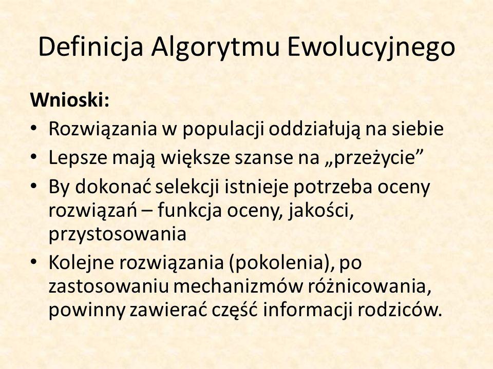 Definicja Algorytmu Ewolucyjnego Wnioski: Rozwiązania w populacji oddziałują na siebie Lepsze mają większe szanse na przeżycie By dokonać selekcji ist