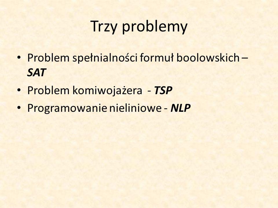 Trzy problemy Problem spełnialności formuł boolowskich – SAT Problem komiwojażera - TSP Programowanie nieliniowe - NLP