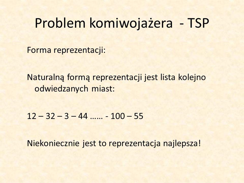 Problem komiwojażera - TSP Forma reprezentacji: Naturalną formą reprezentacji jest lista kolejno odwiedzanych miast: 12 – 32 – 3 – 44 …… - 100 – 55 Ni