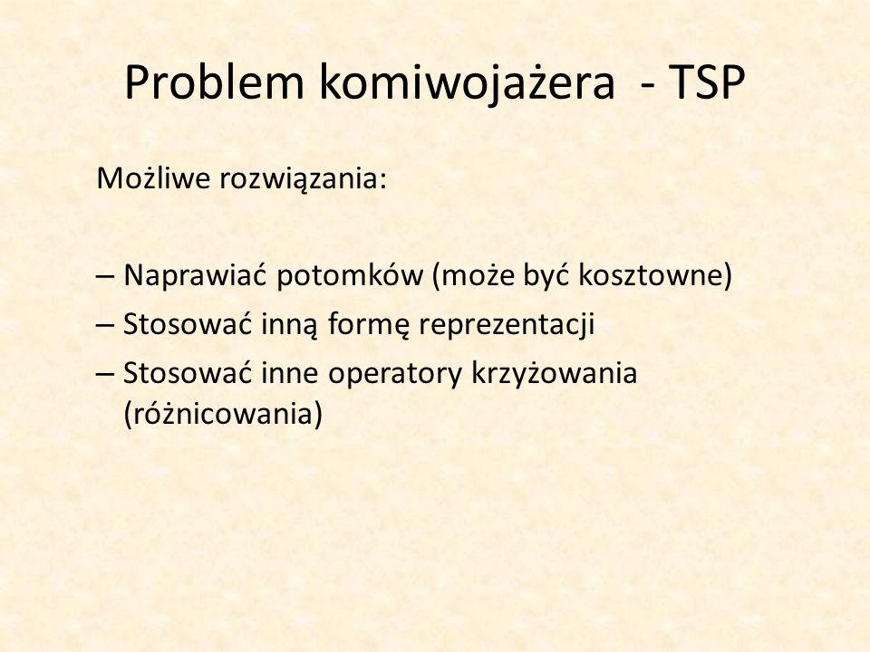 Problem komiwojażera - TSP Możliwe rozwiązania: – Naprawiać potomków (może być kosztowne) – Stosować inną formę reprezentacji – Stosować inne operator