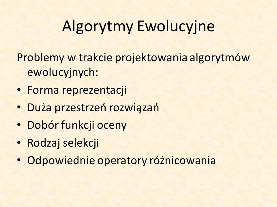 Algorytmy Ewolucyjne Problemy w trakcie projektowania algorytmów ewolucyjnych: Forma reprezentacji Duża przestrzeń rozwiązań Dobór funkcji oceny Rodza