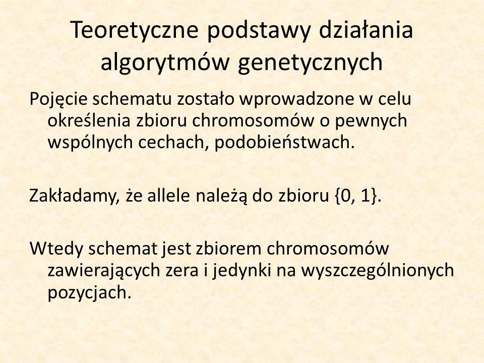 Teoretyczne podstawy działania algorytmów genetycznych Pojęcie schematu zostało wprowadzone w celu określenia zbioru chromosomów o pewnych wspólnych c