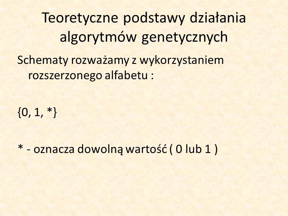 Teoretyczne podstawy działania algorytmów genetycznych Schematy rozważamy z wykorzystaniem rozszerzonego alfabetu : {0, 1, *} * - oznacza dowolną wart