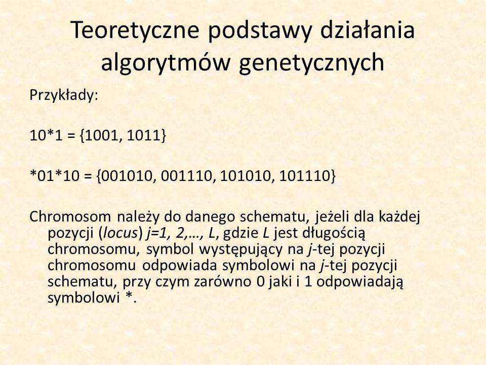 Teoretyczne podstawy działania algorytmów genetycznych Przykłady: 10*1 = {1001, 1011} *01*10 = {001010, 001110, 101010, 101110} Chromosom należy do da